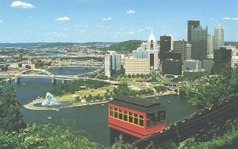 Pittsburgh form the Duquesne Incline ~ Years ago, there were 17 inclines in Pittsburgh.  There are two left - the Monongahela Incline and the Duquesne Incline.  As elementary students, we had to learn to spell the names of the three rivers:  Monongahela, Allegheny and Ohio.