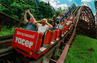 The Racer at Kennywood Park ~ I'm sure this seems like a tame ride today.  But it is still there.  See the two roller coaster trains running side by side?  Sometimes the blue cars would win; sometimes the red ones.