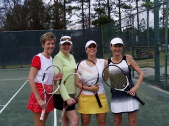 Second Place ~ From left to right Carol, Lisa, Robin and Tara.  Tara and I came in second (3;3)  Somewhere during the first set, i poached an entire game.  That was sweet!   We were down 0 - 5 in the second set and won three games in a row.  Oh well.  Next time!