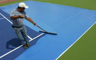 Paint it Blue ~ Tattnall's courts got a new makeover this past July (2007)