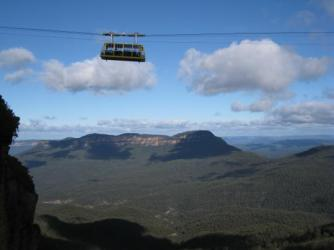 The Blue Mountains ~   Here is a cable car through the Blue Mountains.