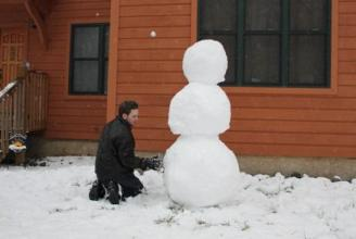 Six Foot Snowman ~ We all helped, but, it was Shaun's masterpiece.