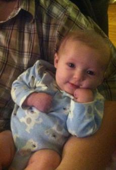 11-11-2012 ~  Posing in her Daddy's arm. She's such a ham!