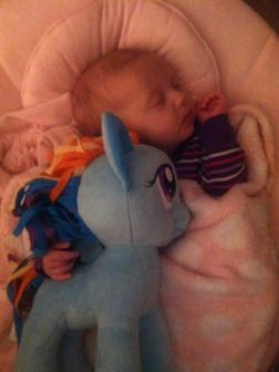 11-22-2012 ~  Napping with Rainbow Dash.