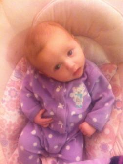 01-15-2013 ~  Snuggled up in a purple sleeper, ready for cuddles before bed. *Heart*