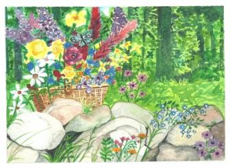 Flowers Gathered ~ This is a scan of a card I painted for a friend.  The rock wall is a special inclusion; growing up in New England they were everywhere.  Sometimes they still surrounded large fields. I imagined the work of digging them out of each field and then building a wall with them.   the settlers of our awesome country really worked hard.    -Alan