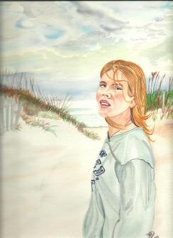 "Woman at Dunes ~ Original 14"" by 20""  I love the dunes in sunny weather and before a storm!    - Alan"