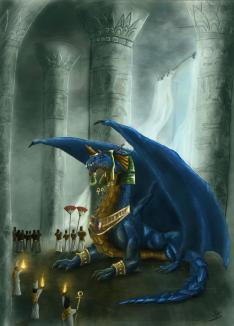 """The Suzerian of Egypt, Khaldun the Blue Dragon God ~  The Blue Dragon Khaldun (his name meaning """"The Immortal One"""" in Egyptian) holds court at Thebes as Suzerain (or Pharaoh) of Upper and Lower Egypt.   After the collapse of the Old Kingdom, Egypt entered a period of weak Pharaonic power and decentralization. Towards the end of this period, two rival dynasties, fought for power over the entire country. It was by then that Khaldun made his appearance. The Ancient Blue Dragon who had been living in the desert saw the quarreling kingdom an easy target, ripe for plunder. However when he arrived in Thebes he received a completely different welcome then ex..."""