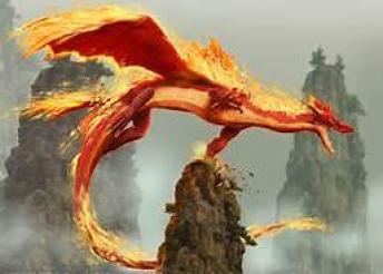 Persian Fire Dragon ~  A hero of popular legend woven into his history by Firdausi was Isfendiar (son of King Gushtask, himself a dragon-killer), who also had to perform seven labours, the second of which was to fight an enormous and venomous dragon such as this:    Fire sparkles round him; his stupendous bulk  Looks like a mountain. When incensed his roar  Makes the surrounding country shake with fear,  White poison foam drips from his hideous jaws,  Which, yawning wide, display a dismal gulf,  The grave of many a hapless being, lost  Wandering amidst that trackless wilderness.    Isfendiar's companion, Kurugsar, so magnified the power and ferocity ...
