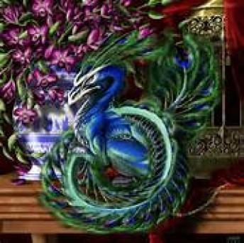 """Persian Peacock Dragon ~  Eglė the Queen of Serpents:  A Lithuanian folk tale, also known as Eglė the Queen of Grass Snakes  Once upon a time, there lived an old man and his wife. Together, they had twelve sons and three daughters. The youngest girl was named Eglė. On a warm summer evening, all three girls decided to go swimming. After bathing with her two sisters, Eglė discovered a serpent in the sleeve of her blouse.   The eldest girl grabbed Eglė's blouse, threw it down, and jumped on it, but the serpent did not leave. Turning to the youngest, Eglė, the serpent spoke to her in a man's voice, saying, """"Eglė, promise to become my bride, and I w..."""