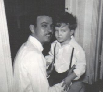 Father and Son on Christmas Eve ~ My dad and older brother on Christmas Eve 1949