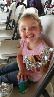 Hotdogs & Horseback! ~  She can't wait to get on that horse! *Smile*