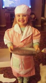 Superbowl Snack Time! ~  She got a waitress costume with her kitchen set for Christmas, & wanted to serve snack for Superbowl! Only my granddaughter! *Laugh*