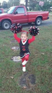 """Headed To The Big Game! ~  She and her dance class got to cheer at a Jr Varsity football game last winter. Instead of """"Panthers,"""" my former High School team name - Destiny says """"  GO PAMPERS!!  """" *Laugh* *Laugh*"""