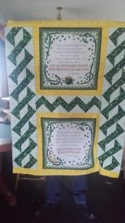 Shamrock quilt minus final border ~  Made for a fundraiser at work.