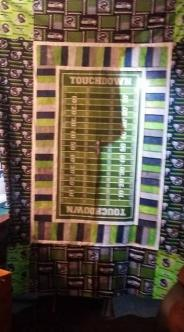 Seahawks Raffle Quilt ~  Made for the fundraiser at work to help raise money for the local Salvation Army  during November and December 2015.