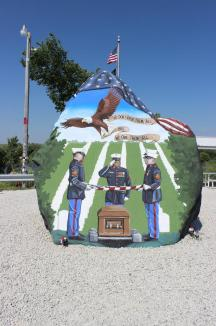 """Freedom Rock, June 2016 ~  The Freedom Rock (established in 1999) is a large (approx. 60+ ton) boulder located in rural Iowa that is repainted every year with a different Thank You for our nations Veterans to honor their service to our country.  The artist, Ray """"Bubba"""" Sorensen II, was inspired by the movie Saving Private Ryan, as well as, wanting to give Veterans a unique recognition on Memorial Day.   Sorensen paints The Freedom Rock on his own with the tremendous support of family and friends.  Sorensen is not commissioned to paint the rock but is able to do so each year with the generous help of donations.   While painting murals across the cou..."""
