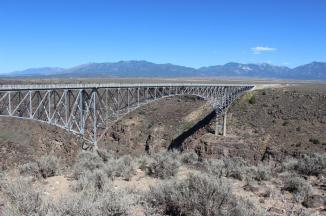 Rio Grande Gorge Bridge near Taos, NM ~  After seeing the movie 'Wild Hogs', I knew I had to come here one day!  I could not believe that I grew up in Albuquerque, and this bridge was so near!  Then again, we didn't have a lot when I was growing up, so rarely ventured very far around the state.  This was built in 1965, and spans the Rio Grande Gorge.