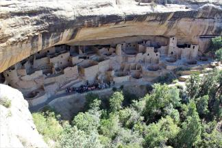 Cliff Palace, Mesa Verde National Park ~  Cliff Palace is one of the largest structures in the Mesa Verde National Park.  Recent studies reveal that Cliff Palace contained 150 rooms and 23 kivas and had a population of approximately 100 people. Out of the nearly 600 cliff dwellings concentrated within the boundaries of the park, 75% contain only 1-5 rooms each, and many are single room storage units. If you visit Cliff Palace you will enter an exceptionally large dwelling which may have had special significance to the original occupants. It is thought that Cliff Palace was a social, administrative site with high ceremonial usage.   Sandstone, mortar and wood...