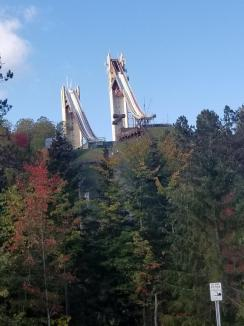 "Ski Jumps At Lake Placid ~ Lake Placid has an almost legendary place in American Sports History.  The phrase ""Do You Believe In Miracles?"" was uttered by Al Michaels during the final minute of the United States win over Russia in the semi-finals of the hockey tournament.  The ski jumping competition was held nearby using these awesome jumps!"