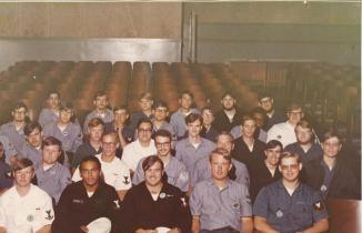 Can You Find Me? ~ This is a photo from my Nuclear Power School class at Mare Island Naval Shipyard  in late 1973.  I posted it on Facebook in a group of former Navy 'Nukes', and one of the guys in the photo recognized me!   WOW...