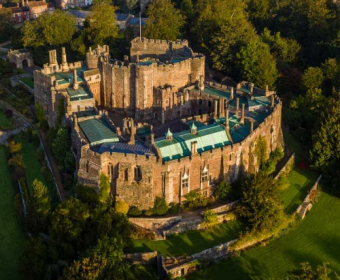 Berkeley Castle, 2020 ~  Aerial view of Berkeley Castle  Credit: [Link: 'https://www.cotswolds.com/things-to-do/berkeley-castle-and-gardens-p133113']