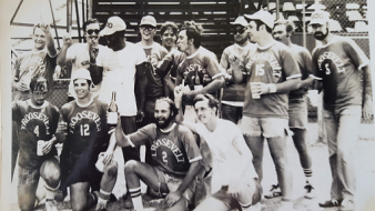 USS Theodore Roosevelt SSBN 600 (G) Champion Softball Team - Circa 1975 ~ That's me kneeling in front row, right.  We were undefeated that season.  Sadly, I remember few names of my shipmates.  Chris Kempf is next to me, Paul Labue next to him.  Standing 4th from right is Lester Holte, he ended up marrying my sister.  Standing third from left is Chief Burnett, our coach, and a former Navy Boxing Champion.  I didn't get to play much because I was a terrible player.  But I loved playing almost any game, so I did as best I could....