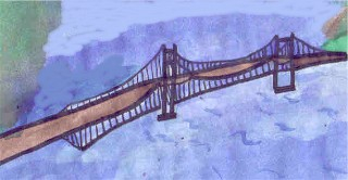 This is an illustration of the Golden Gate Bridge in California.