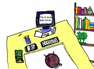 """This is the computer and desk which belongs to the story, """"The Irish Computer."""""""