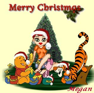 A sig made by best friend Angel of me and Pooh Characters at Christmas.