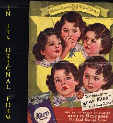 A 30's advertisement showing the Dionne Quints