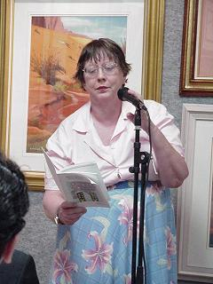 This is a picture of me at a poetry reading.