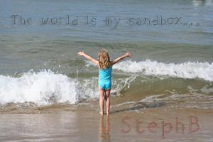 A little girl in the sandbox of life.