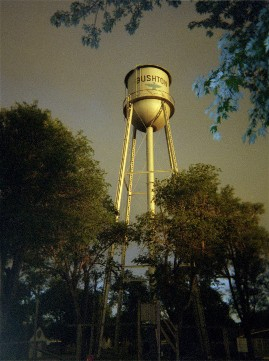 Before the strom, Bushton's water tower.