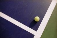 A blue tennis court