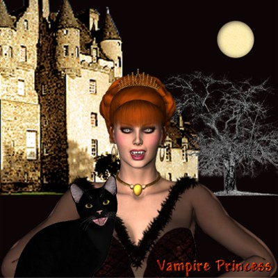 Beautiful Halloween Poser of a vampire Princess and her black cat by best friend Angel.