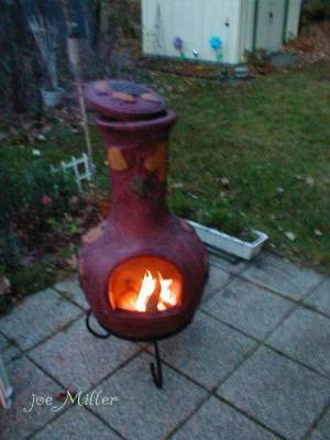 A warm place on the patio for conjuring and conversation.