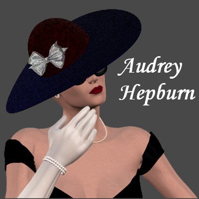 Beautiful Poser of Audrey Hepburn in the black dress by Angel.