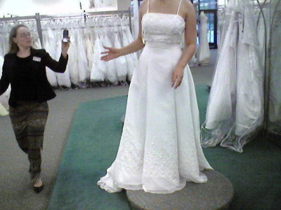 Autumn's wedding dress.