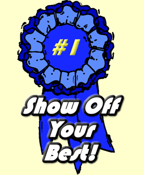 Blue ribbon banner for contest.