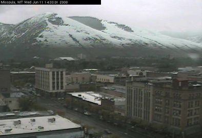 June 11, 2008: snow over downtown Missoula, Montana