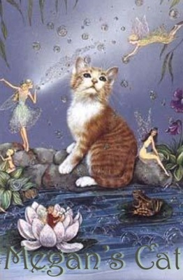 Cute image of cat and fairies.