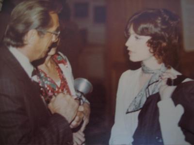 Being interviewed in 1975.