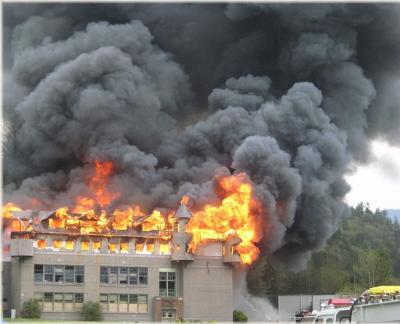 Historic Building Burning