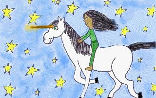 A girl riding through the stars on her unicorn.