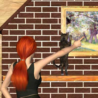 A pretty Poser of my cat clawing a painting by Angel.
