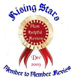 My award from Rising Stars for having the most compelling review for December of 2009!