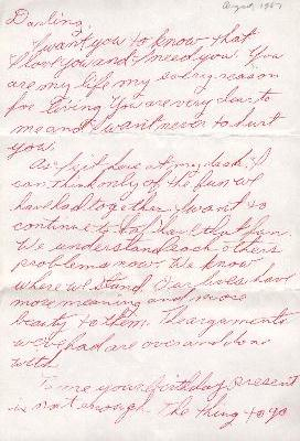 First part of a love letter Linda wrote me on my 19th birthday - 8/23/1967