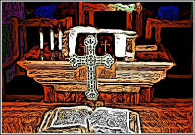 Digital painting of the Bible and the Cross