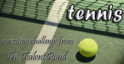 Banner/logo for The Talent Pond's tennis writing challenge.
